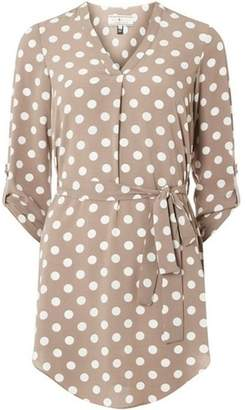 Dorothy Perkins Womens **Billie & Blossom Taupe and White Spot Print Tunic