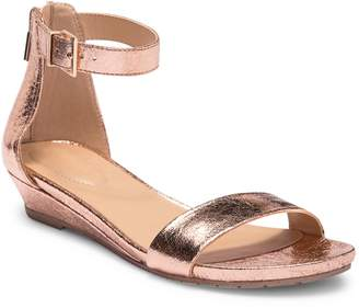 Kenneth Cole Reaction Great Viber Metallic Leather Wedge Sandal