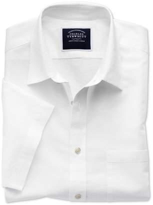 Charles Tyrwhitt Classic Fit White Cotton Linen Short Sleeve Cotton Linen Mix Casual Shirt Single Cuff Size Large