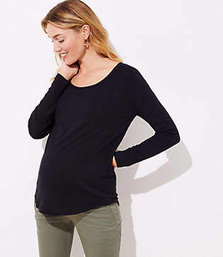 LOFT Maternity Long Sleeve Shirttail Tee