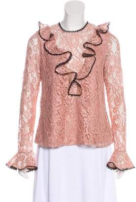 Alexis Lace-Accented Long Sleeve Blouse
