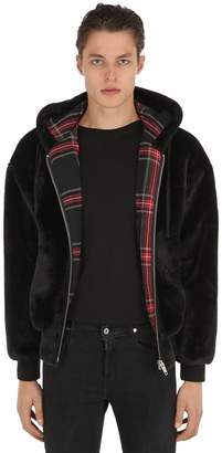The Kooples Padded Faux Fur Bomber W/ Plaid Lining