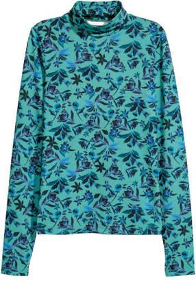 H&M Patterned Turtleneck Top - Green