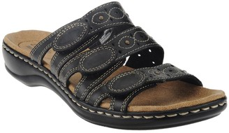 Clarks Leather Triple Strap Slides - Leisa Cacti
