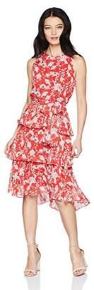 Sandra Darren Women's Petite 1 PC Sleeveless Printed Ruffle Chiffon Dress