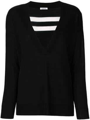 P.A.R.O.S.H. rear-stripe V-neck sweater