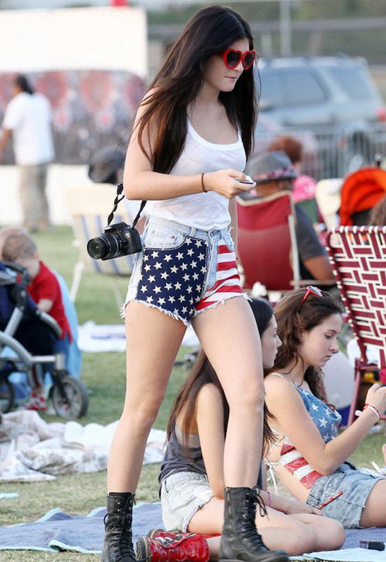 Kylie Minogue Vintage American Flag Short - as seen on Kylie Jenner - by RUNWAYDREAMZ