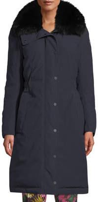 Moncler Jaseur Parka Coat w/ Removable Fur Collar
