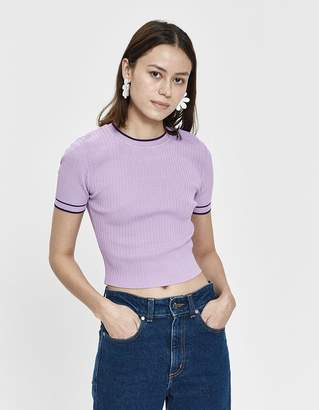 Stelen Evie Ribbed Knit Top in Purple