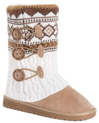 Muk Luks Cheryl Knit Button Bootie