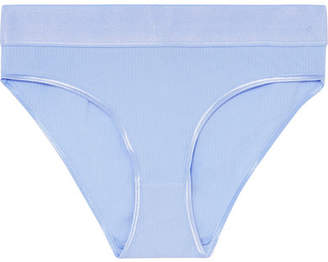 Base Range Baserange - Elastic Bell Ribbbed Stretch-cotton Briefs - Light blue