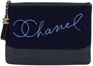 One Kings Lane Vintage Chanel Navy Paris Salzburg Clutch - Vintage Lux