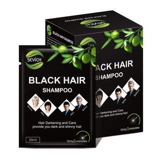 RONSHIN 10 Pcs/Box Instant Black Hair Shampoo Hair Darkening and Shinny Long-lasting Hair Dye Hairdressing