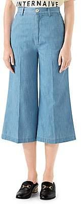 Gucci Women's Embroidered Denim Culottes