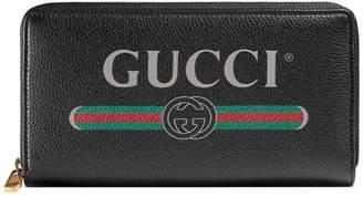 Gucci Print leather zip around wallet