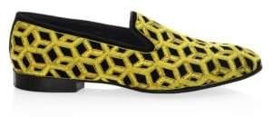 Louis Leeman Embroidered Velvet Slip-On Shoes
