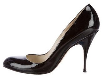 Brian Atwood Patent Leather Round-Toe Pumps $85 thestylecure.com