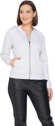 Halston H By H by Lightweight Textured Knit Bomber Jacket
