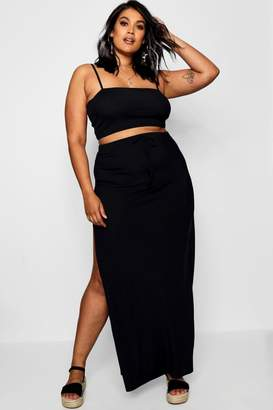 boohoo Plus Rib Crop & High Split Maxi Co-ord