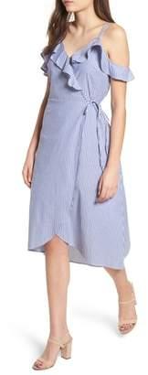 BP Stripe Ruffle Wrap Dress