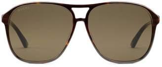Gucci Specialized fit aviator acetate sunglasses