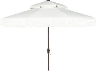 Safavieh Milan Fringe 9Ft Double Top Crank Umbrella