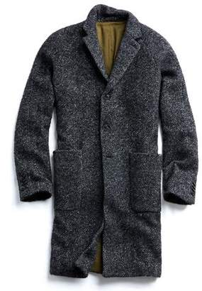 Todd Snyder Italian Wool Boucle Herringbone Topcoat in Charcoal