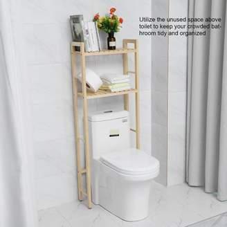 HURRISE 2-Tier Wood Construction Storage Shelf Rack Over Toilet Compact Bathroom Organizer