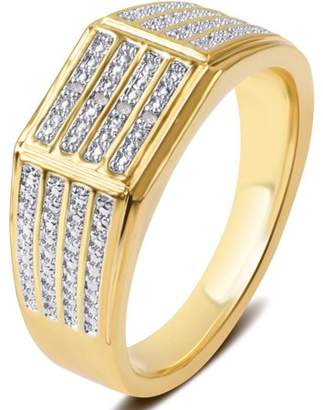 Generic Diamond Accent 14kt Gold Flash Plated Brass Wide Men's Ring