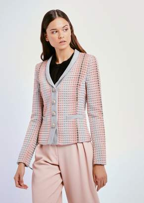 Emporio Armani Single-Breasted Blazer With Polka-Dot Jacquard Motif