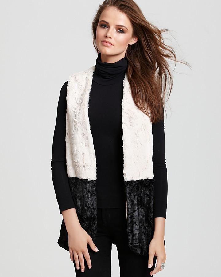 Aqua Vest - Color Block Faux Fur