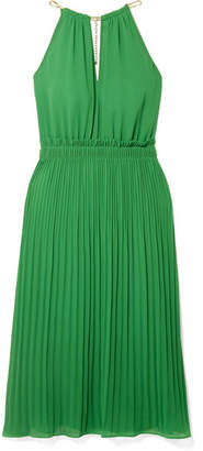 MICHAEL Michael Kors Pleated Georgette Dress - Green