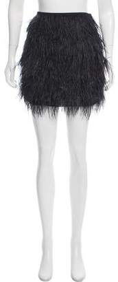 Michael Kors Feather-Trimmed Mini Skirt