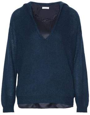 Brunello Cucinelli Layered Silk-Blend Satin And Ribbed-Knit Hooded Sweater