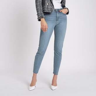River Island Womens Mid blue Casey slim fit raw hem jeans