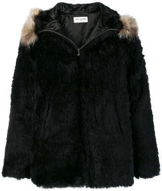 Saint Laurent fur-trim zipped jacket