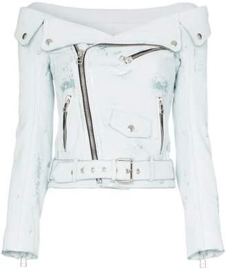 Faith Connexion off-shoulder leather biker jacket