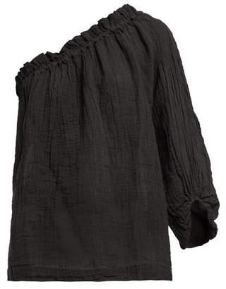 Masscob Asymmetric Linen Blend Top - Womens - Black
