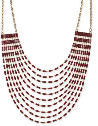 "Thalia Sodi Gold-Tone Baguette Stone Multi-Strand Statement Necklace, 18"" + 3"" extender"