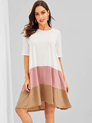 Shein Colorblock Swing Tee Dress