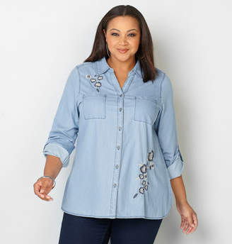 Avenue Floral Embroidered Chambray Shirt