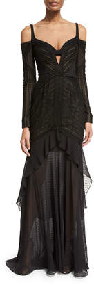 J. Mendel Mixed-Lace Cold-Shoulder Gown, Black (Noir)