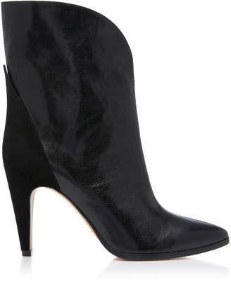 Givenchy Suede-Paneled Leather Ankle Boots