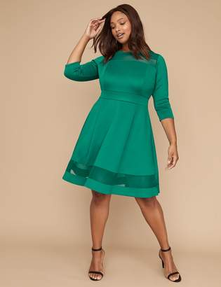 Lane Bryant 3/4 Sleeve Scuba Fit & Flare Dress with Mesh