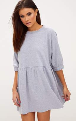 PrettyLittleThing Grey Marl Smock Sweater Dress