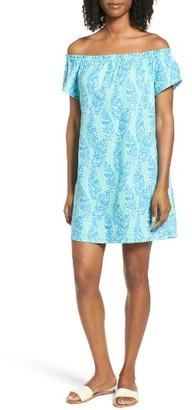 Women's Vineyard Vines Palm Print Off The Shoulder Shift Dress $128 thestylecure.com