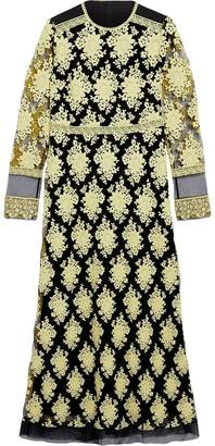 Burberry Floral-embroidered Long-sleeve Dress