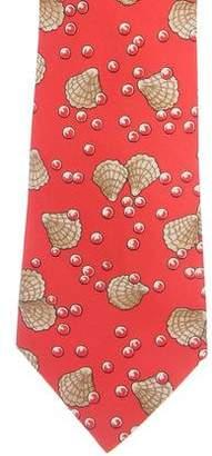 Hermes Clam Print Silk Tie