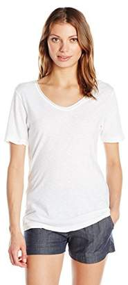 Michael Stars Women's Supima Cotton Slub Short Sleeve with Raw Edge