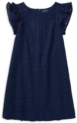 Polo Ralph Lauren Girls' Flutter-Sleeve Eyelet Dress - Big Kid